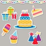 Happy birthday icons set. Set of birthday icons on white background. Party and celebration design elements Royalty Free Stock Photos