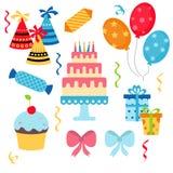 Happy birthday icons set. Set of birthday icons on white background. Party and celebration design elements Stock Photography
