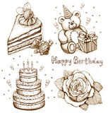 Set of birthday illustrations Royalty Free Stock Photos