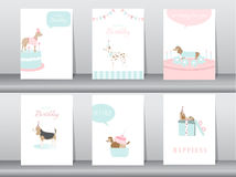 Set of birthday invitations cards,poster,greeting,template,animals,dogs,Vector illustrations royalty free illustration