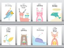 Set of birthday invitations cards, poster, greeting, template, animals,rabbit,cake,stork,goose,whale,birds,deer,Vector illustratio vector illustration