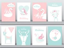 Set of birthday invitations cards, poster, greeting, template, animals,unicorn,stork,duck,goose,Vector illustrations vector illustration