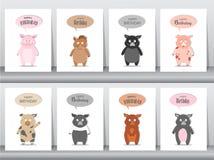 Set of birthday invitations cards, poster, greeting, template, animals,wild boar,pig,hogs,Vector illustrations. Birthday invitations cards, poster, greeting stock illustration