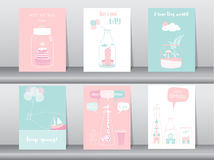 Set of birthday invitations cards,poster,greeting,template,bottle,home,house,Vector illustrations Stock Photo
