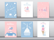 Set of birthday invitations cards,poster,greeting,template,cake,rabbit,flamingo stock illustration