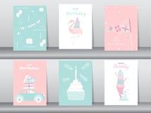 Set of birthday invitations cards,poster,greeting,template,cake,rabbit,flamingo,bear,Vector illustrations. Set of birthday invitations cards,poster,greeting vector illustration