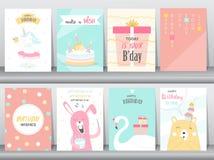 Set of birthday invitations cards, poster, greeting, template, animals,unicorn,rabbit,cake,stork,goose,Vector illustrations. Set of birthday invitations cards vector illustration