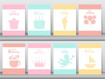Set of birthday invitations on paper cards, poster, greeting, template, animals,rabbit,cake,ice cream,Vector illustrations. Set of birthday invitations on paper stock illustration