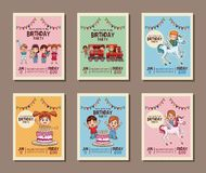 Set on birthday kids party invitation card. Vector illustration graphic design Stock Images