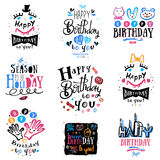 Set of birthday logo, labels and illustrations. Royalty Free Stock Photography
