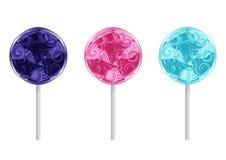 Set of Birthday Lollipops Stock Images