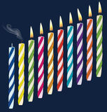Set of birthday multicolored candles. Stock Images