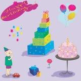 Set of birthday object. Illustation of gifts cake Royalty Free Stock Image