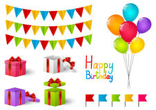 Set of Birthday objects Stock Image