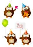 Set of Birthday owls Stock Image