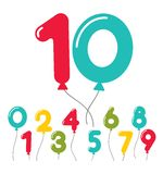 Set of birthday party balloon numbers. Set of colorful birthday party balloon numbers in the colors of the rainbow   0 through 9  floating in the air on strings Royalty Free Stock Photography