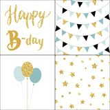 Set of Birthday party cards and seamless pattern backgrounds. Hand drawn  illustration in scandinavian style Royalty Free Stock Photography