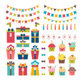 Set of birthday party or Christmas design elements. Stock Photo