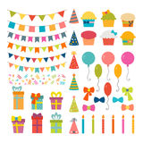 Set of birthday party design elements. Colorful balloons, flags, Stock Photo