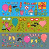Set of birthday party design elements. Kids drawing.. Set of birthday party design elements. Colorful balloons, flags, confetti, cupcakes, gifts, candles, bows Royalty Free Stock Photography