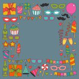 Set of birthday party design elements. Kids drawing.. Set of birthday party design elements. Colorful balloons, flags, confetti, cupcakes, gifts, candles, bows Stock Photography