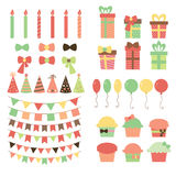 Set of birthday party design elements. Colorful balloons, flags, Royalty Free Stock Image