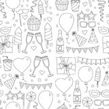 Set of birthday party design elements. Kids drawing. Doodle icons Colorful balloons, flags, confetti, cupcakes, gifts Stock Photos