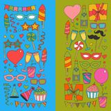 Set of birthday party design elements. Kids drawing.. Set of birthday party design elements. Colorful balloons, flags, confetti, cupcakes, gifts, candles, bows Royalty Free Stock Photos