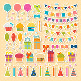 Set of birthday party design elements, stickers. Colorful. Balloons, flags, confetti, cupcakes, gifts, candles, bows and decorative ribbons. Vector illustration Royalty Free Stock Photo