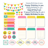 Set of Birthday party design elements. Template for notebooks. Monthly planner. Notes, stickers, labels. Vector illustration vector illustration