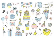 Set of birthday party in doodle style isolated on white background royalty free illustration