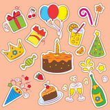 Set of Birthday Party Elements Stock Image