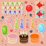 Set of  birthday party elements.  Royalty Free Stock Photos