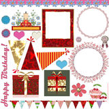 Set of birthday party elements Royalty Free Stock Photo