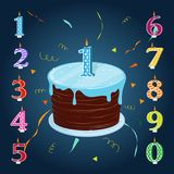Happy birthday cake with candles numbers for each year. A set for a birthday party. Happy birthday cake with candles numbers for each year Royalty Free Stock Image
