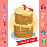 Happy birthday cake with candles numbers for each year. A set for a birthday party. Happy birthday cake with candles numbers for each year Stock Images