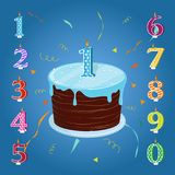 A set for a birthday party. Happy birthday cake with candles. Happy birthday cake with candles numbers for each year. A set for a birthday party Royalty Free Stock Image