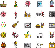 Set of birthday party icons Royalty Free Stock Photography