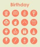 Set of birthday simple icons Stock Image