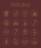 Set of birthday simple icons Stock Photography