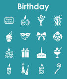 Set of birthday simple icons Royalty Free Stock Photo