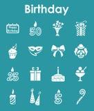 Set of birthday simple icons Royalty Free Stock Photo