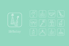 Set of birthday simple icons Stock Photo