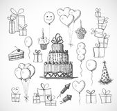 Set of birthday sketch objects  on white Royalty Free Stock Photo