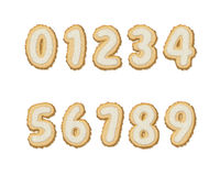 Set of Biscuit Numbers 0-9 Royalty Free Stock Photo
