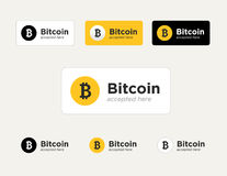 Set of the Bitcoin accepted stickers Stock Photos