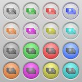 Bitcoin banknotes plastic sunk buttons. Set of Bitcoin banknotes plastic sunk spherical buttons Royalty Free Stock Photography
