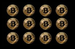 Set of bitcoin coins, digital currency created for use online anonymous transactions Royalty Free Stock Image