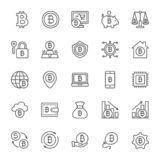 Set of Bitcoin and Cryptocurrency Line Icons. Pack of 48x48 Pixel Icons royalty free illustration