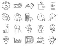 Set of Bitcoin and Cryptocurrency line vector icons. stock illustration